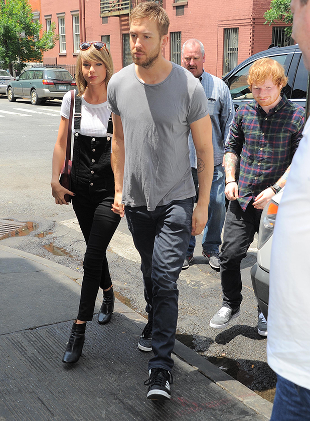Taylor Swift and Calvin Harris get lunch at the Spotted Pig with Ed Sheeran (R) on May 28, 2015 in New York, New York.