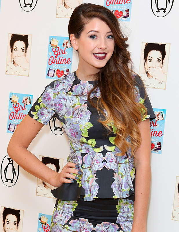 Youtube star Zoe Sugg aka 'Zoella' attends photocall on the eve of publication of her debut novel, 'Girl Online', published by Penguin Books on 25th November 2014. 80 Strand, London