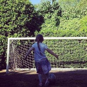 Harper Beckham playing football, Instagram 5 June