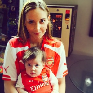 Jacqueline Jossa watches Arsenal's FA Cup victory with daughter Ella - 30 May 2015.