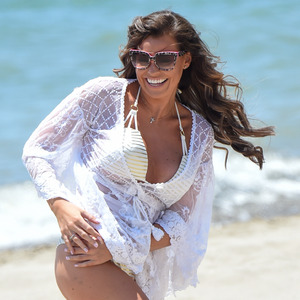 TOWIE's Jess Wright playing volleyball on the beach in Marbella, 4th june 2015