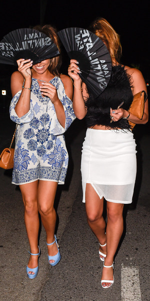 Jessica Wright and Ferne McCann leave Pangea in Marbella, Spain 31 May