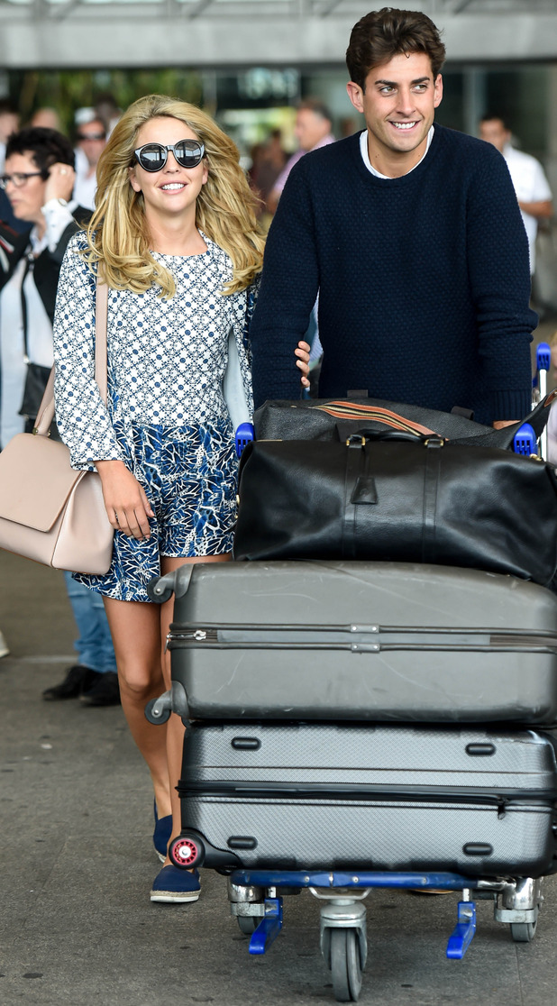 TOWIE stars James 'Arg' Argent and Lydia Bright arrive at Malaga airport ahead of Marbella trip - 30 May 2015.