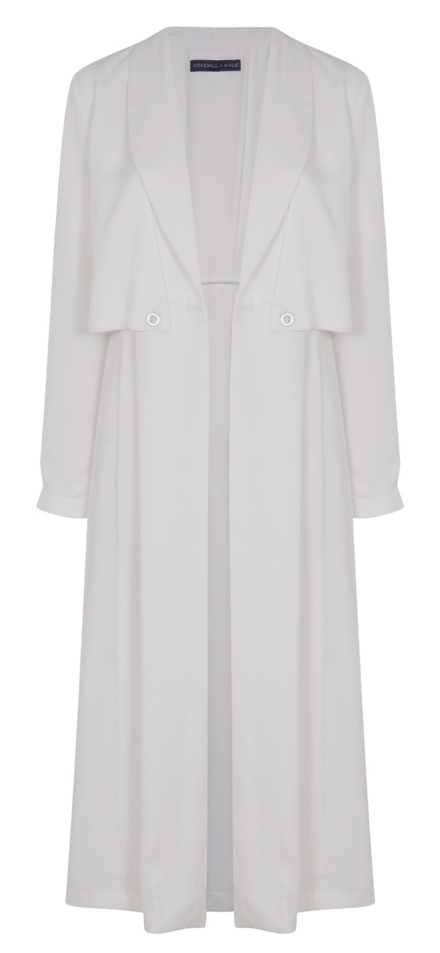 Kendall and Kylie Jenner unveil new Topshop Collection, white duster style jacket, £80, 1st June 2015