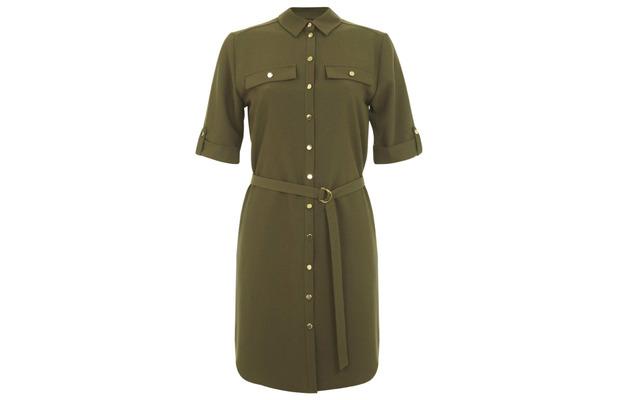 Miss Selfridge khaki shirt dress £39.99, 3rd June 2015