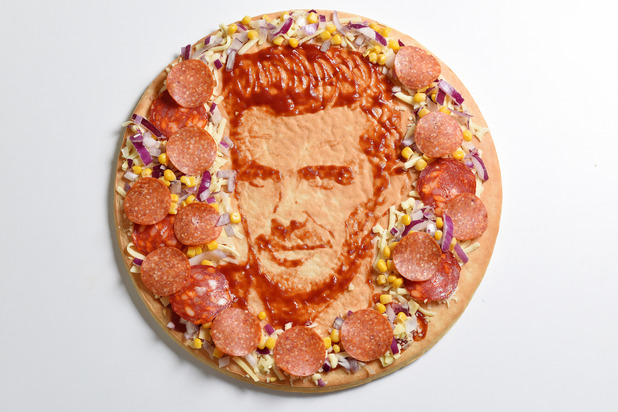 David Beckham has been captured in a special one-off pizza portrait.
