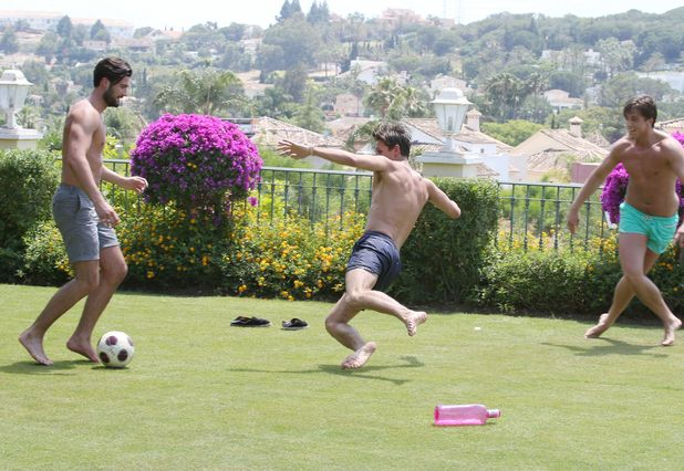 Dan Edgar, Jake Hall and Lewis Bloor playing football in Marbella, Spain - 01 Jun 2015.
