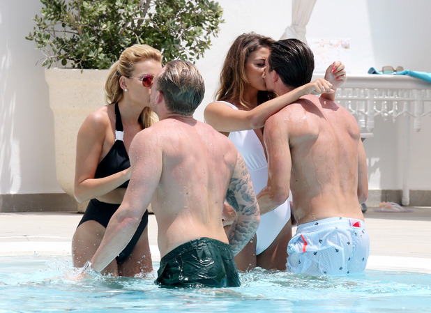TOWIE stars Georgia Kousoulou, Tommy Mallet, Jake Hall, Chloe Lewis kissing, Marbella 5 June