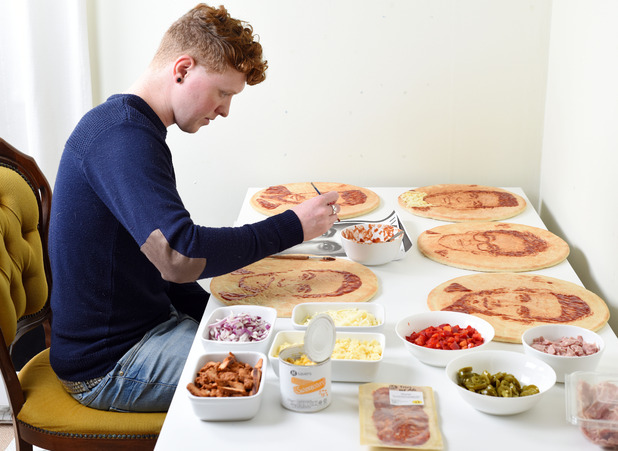 Morrisons unveils celebrity dad pizza portraits with Welsh food artist Nathan Wyburn - 2 June 2015.
