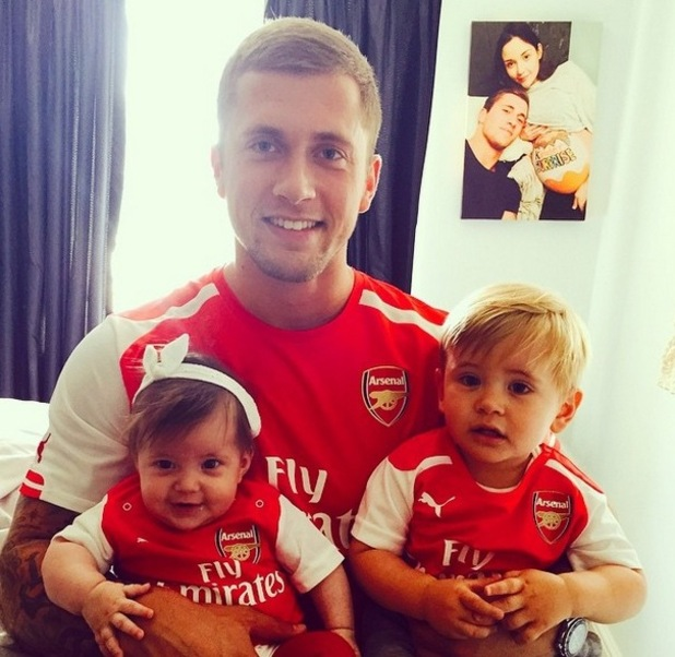 Dan Osborne watches Arsenal's FA Cup victory with kids Ella and his son Teddy - 30 May 2015.