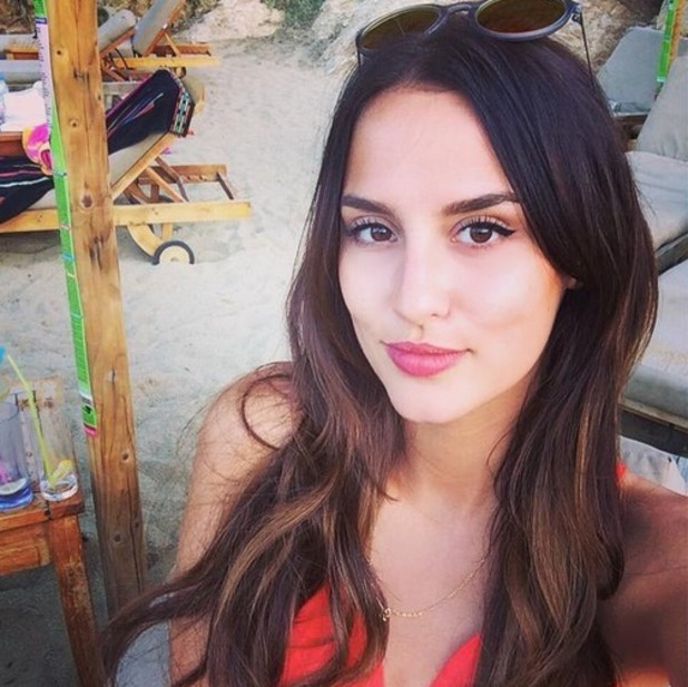 Lucy Watson shares a snap from Mykonos on Twitter, 1st June 2015