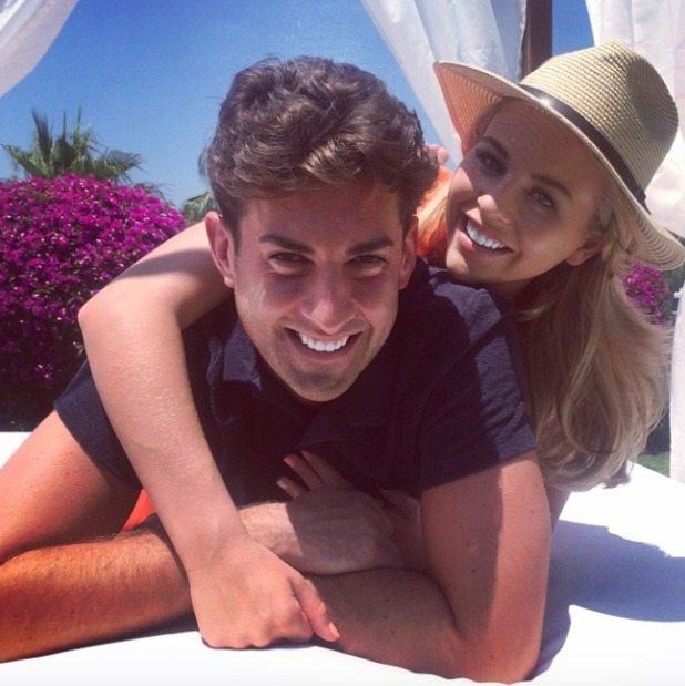 Lydia Bright and James 'Arg' Argent pose in Marbella, 1 June 2015