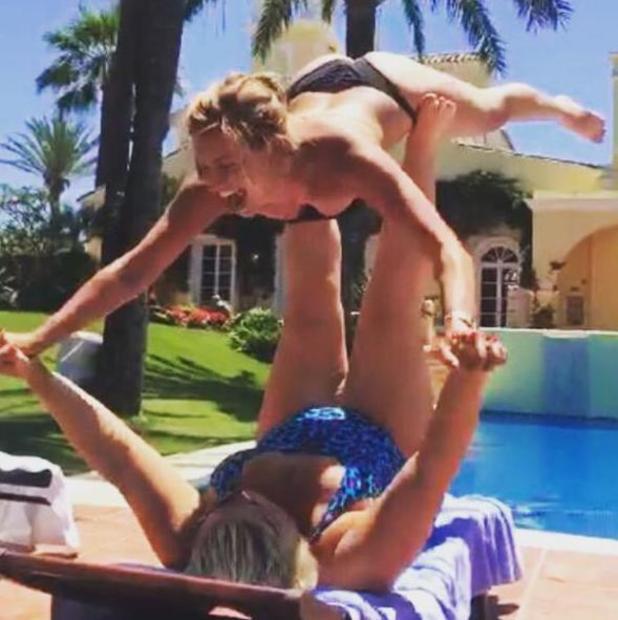 Gemma Collins and Ferne McCann have fun poolside in Marbella - 2 June 2015.