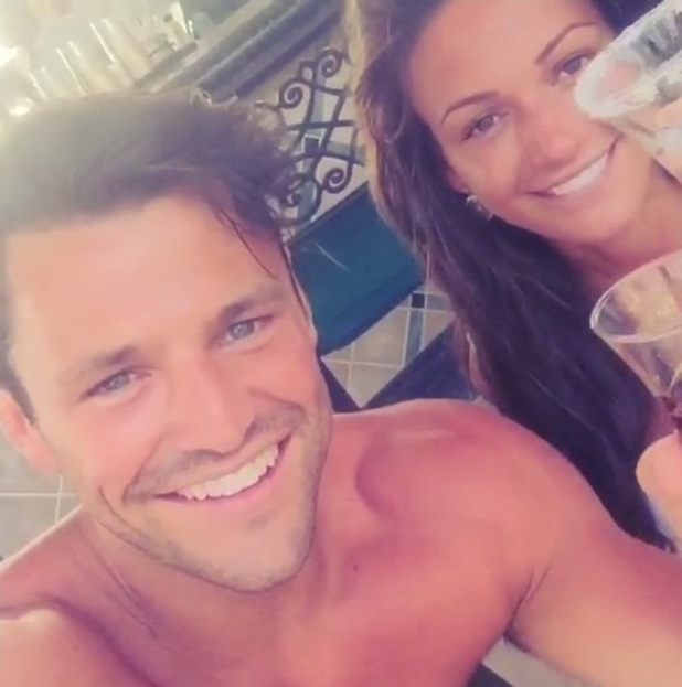 Mark Wright and Michelle Keegan down shots on their honeymoon, 2nd June 2015