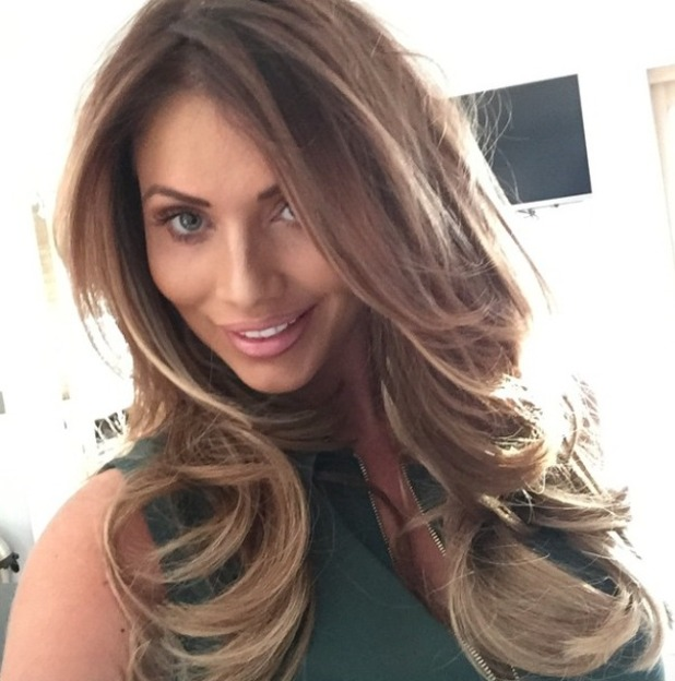 Amy Childs shows off hew dark blonde, Easilocks hair extensions, 22 April 2015