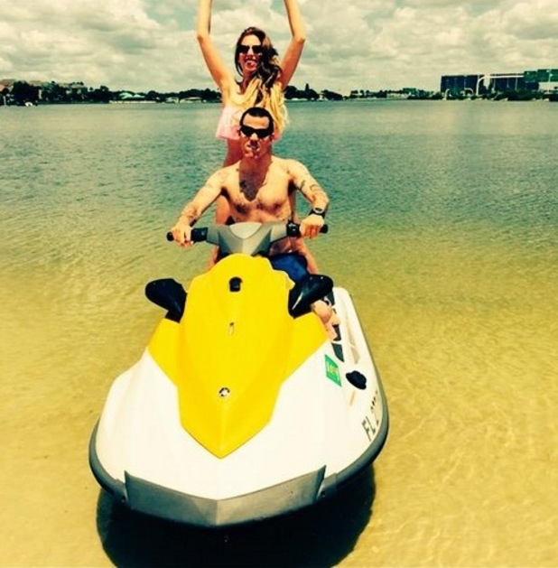 Stacey Solomon shares jet ski photo on Twitter, 30th May 2015