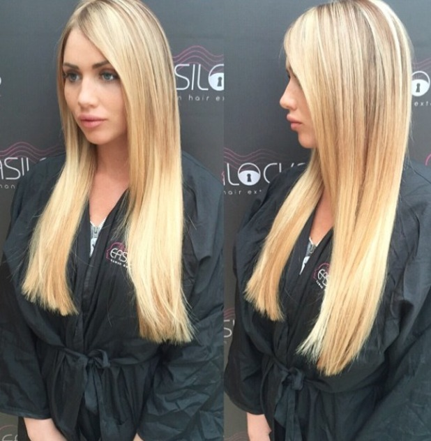 Amy Childs shows off hew blonde, Easilocks hair extensions, 1 June 2015