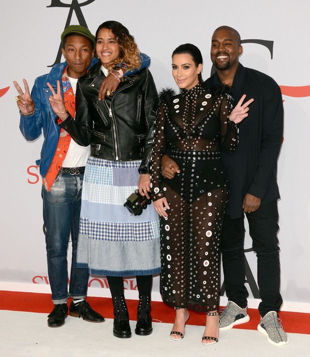 Pharrell Williams, Helen Lasichanh, pregnant Kim Kardashian and Kanye West at the 2015 CFDA Fashion Awards - 1 June 2015.