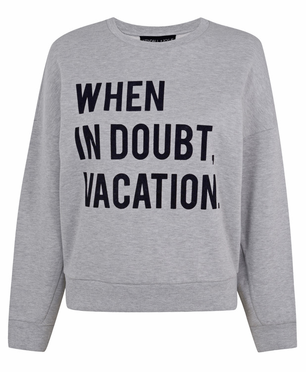 Kendall and Kylie Jenner unveil new Topshop Collection, slogan sweater, £35, 1st June 2015