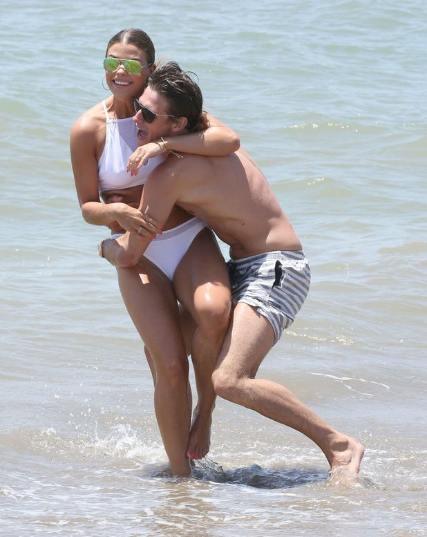 Jake Hall and Chloe Lewis at the beach in Marbella - 3 June 2015.