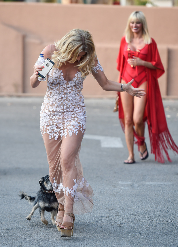 TOWIE's Danielle Armstrong gets attacked by a playful spanish dog - 1 June 2015.