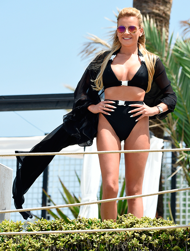 Georgia Kousoulou and Tommy Mallet, TOWIE filming at La Cabanne in Marbella, 5 June 2015