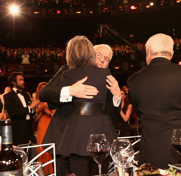 Steve Martin embraces actress Diane Keaton during the 2015 AFI Life Achievement Award Gala Tribute Honoring Steve Martin at the Dolby Theatre on June 4, 2015 in Hollywood, California.