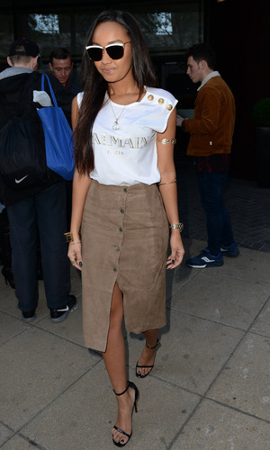 Leigh-Anne Pinnock leaves Manchester hotel for the next leg of Little Mix UK Radio Tour, 9th June 2015