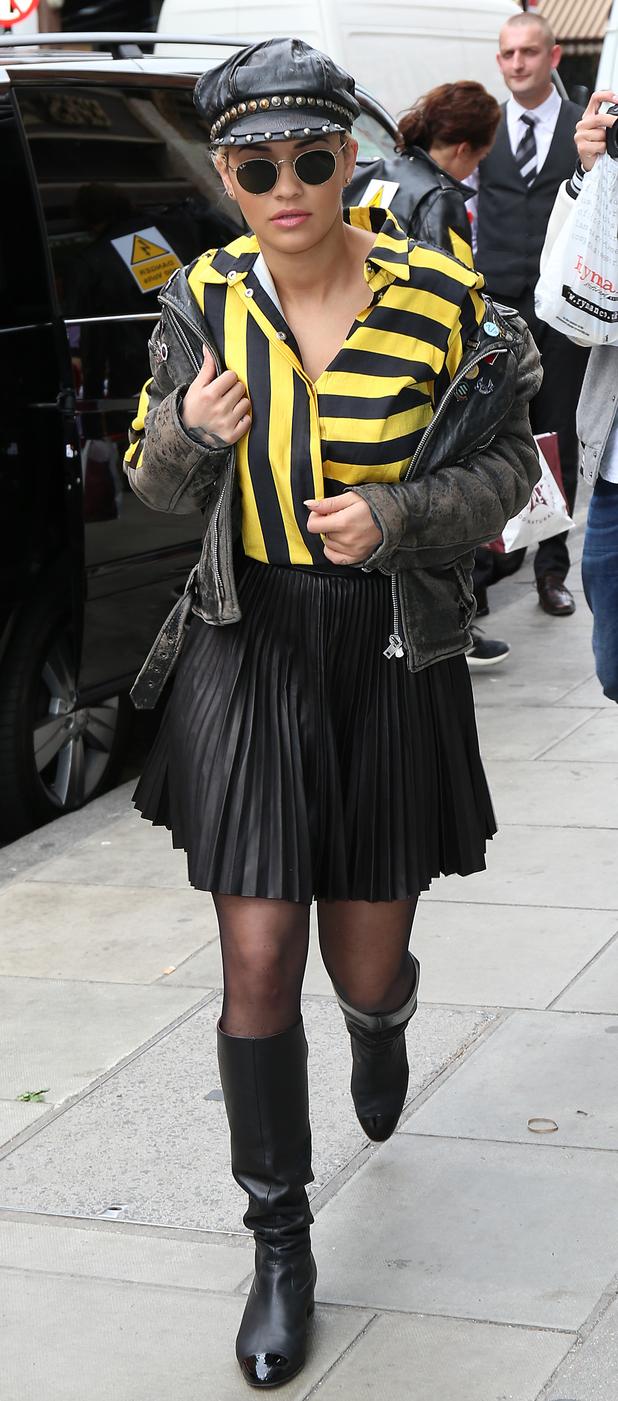 Rita Ora entering recording studio in central London 12th June 2015