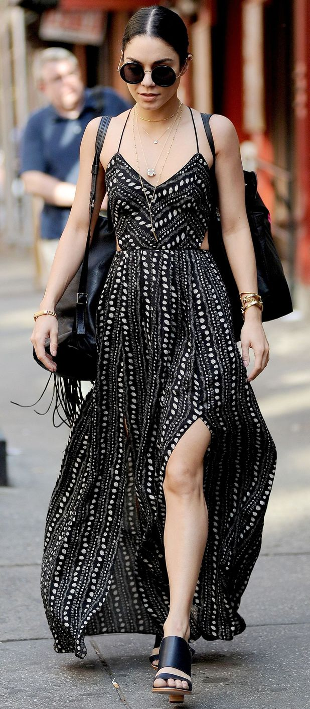 Vanessa Hudgens out and about in New York wearing monochrome dress 10th June 2015