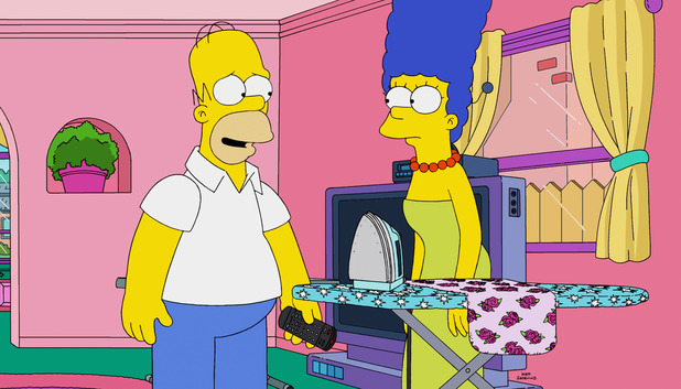 The Simpsons - Homer Simpson and Marge Simpson in 'Waiting For Duffman' - Season 26, Episode 17 2015.