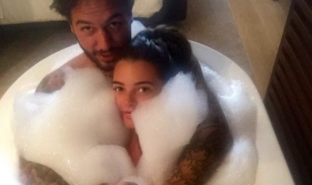 Mario Falcone and Emma McVey have a bath together on holiday in Portugal - 7 June 2015.