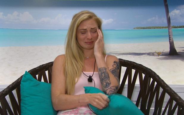 Lauren Richardson crying on Love Island 10 June