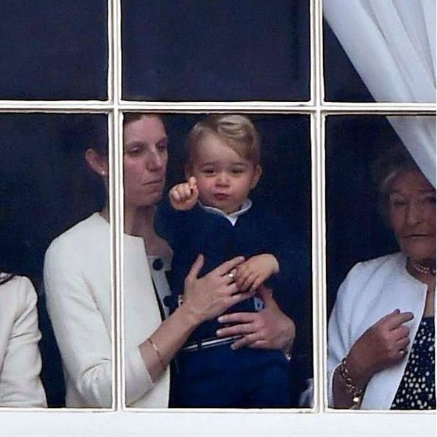 Prince George at the window of Buckingham Palace with nanny Maria Teresa Turrion Borrallo, 13 Jun 2015