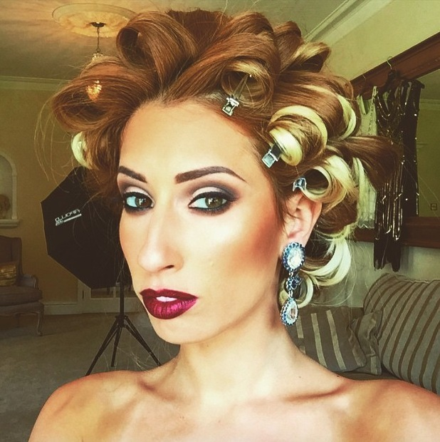 Stacey Solomon shows off 1920s make-up on set of photoshoot, make-up by Jamie-Lee O'Brien, 11 June 2015
