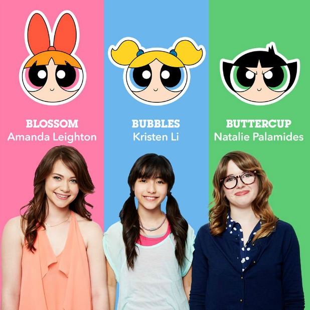 The new Powerpuff Girls cast: Amanda Leighton as Blossom, Kristen Li as Bubbles, and Natalie Palamides as Buttercup