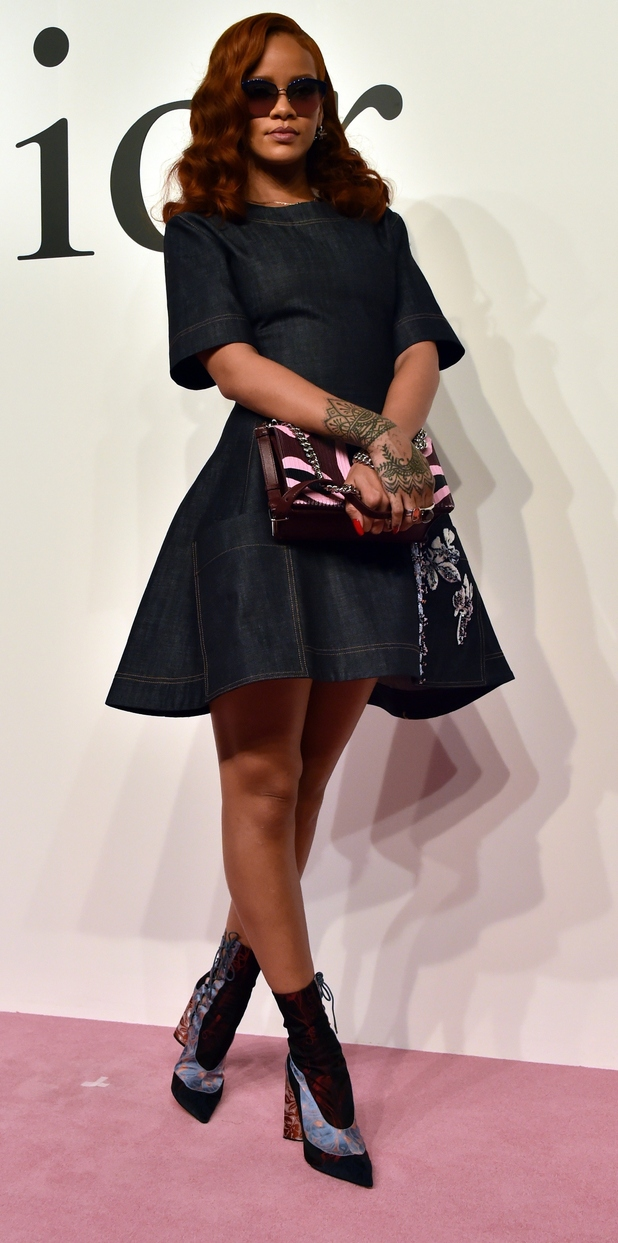 Rihanna in Japan at the Dior Fall 2016 show in denim mini dress 16th June 2015