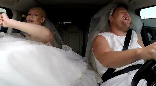Iggy Azalea and James Corden in wedding dresses for Carpool Karaoke, The Late Late Show 19 June