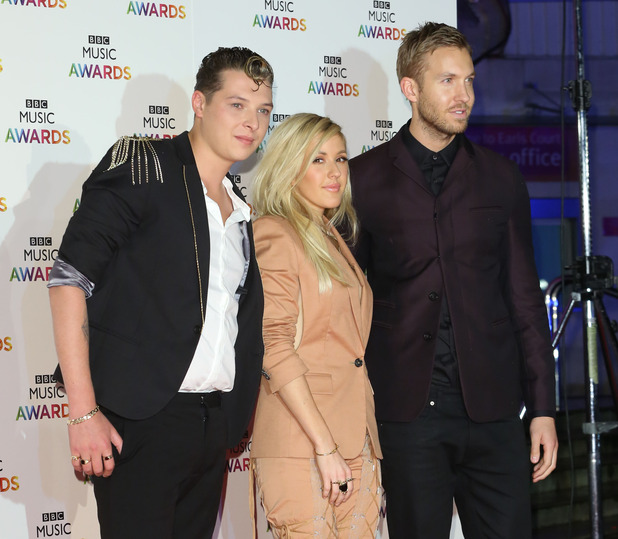 John Newman, Ellie Goulding and Calvin Harris at The BBC Music Awards 2014 held at Earls Court - 12/11/2014.