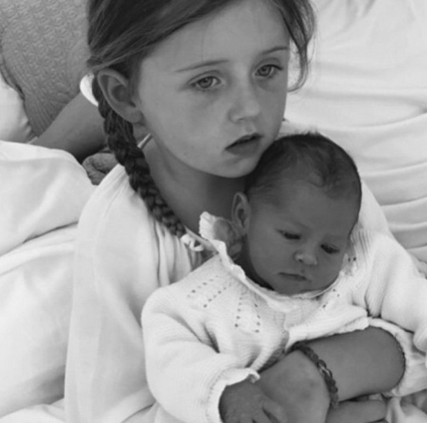 Abbey Clancy posts cute photo of newborn daughter Liberty Rose & Sophia Ruby, four - 18 June 2015.