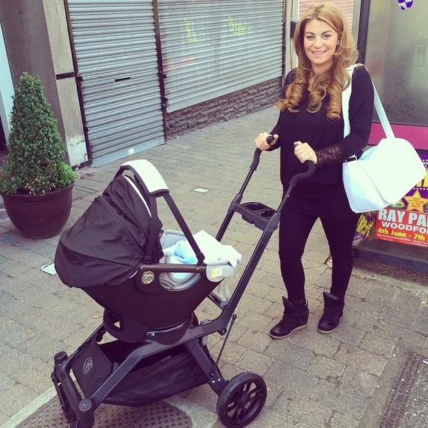 Billi Mucklow and Andy Carroll enjoy first family night out with baby son Arlo, 19 June 2015