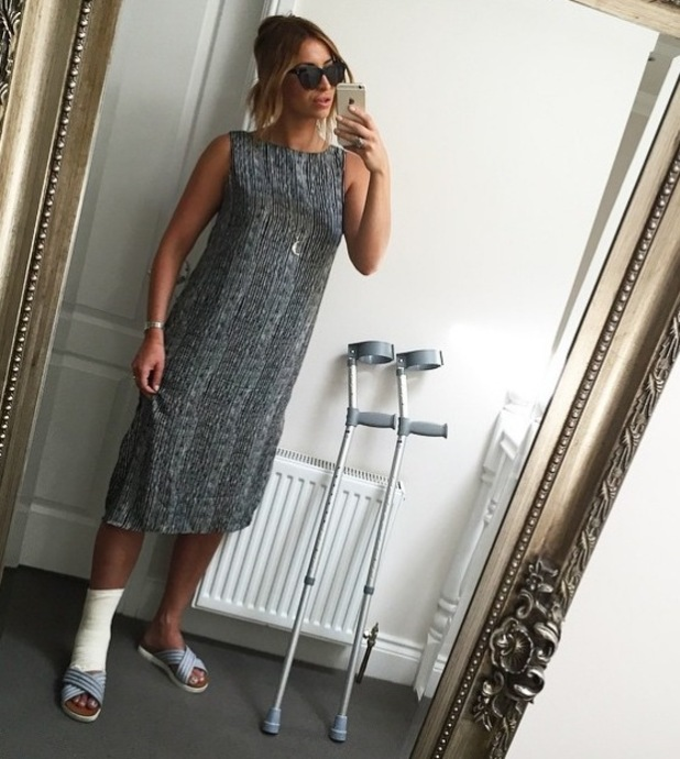 TOWIE's Ferne McCann on crutches after suffering from torn ligaments - 18 June 2015.