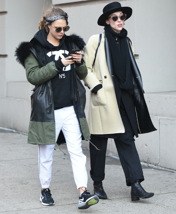 Cara Delevingne and St. Vincent walking around SoHo in New York, 3 February 2015