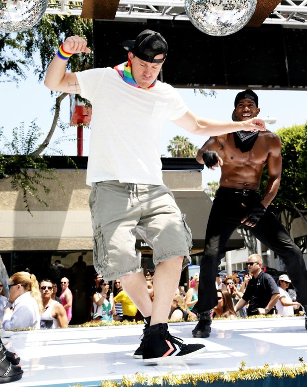 Channing Tatum on the Magic Mike XXL float at 2015 LA Pride Parade, Los Angeles, America - 14 Jun 2015.