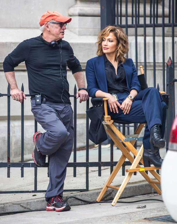Jennifer Lopez filming on location set of NBC's new TV series 'Shades of Blue' with director Barry Levinson - 15 June 2015.