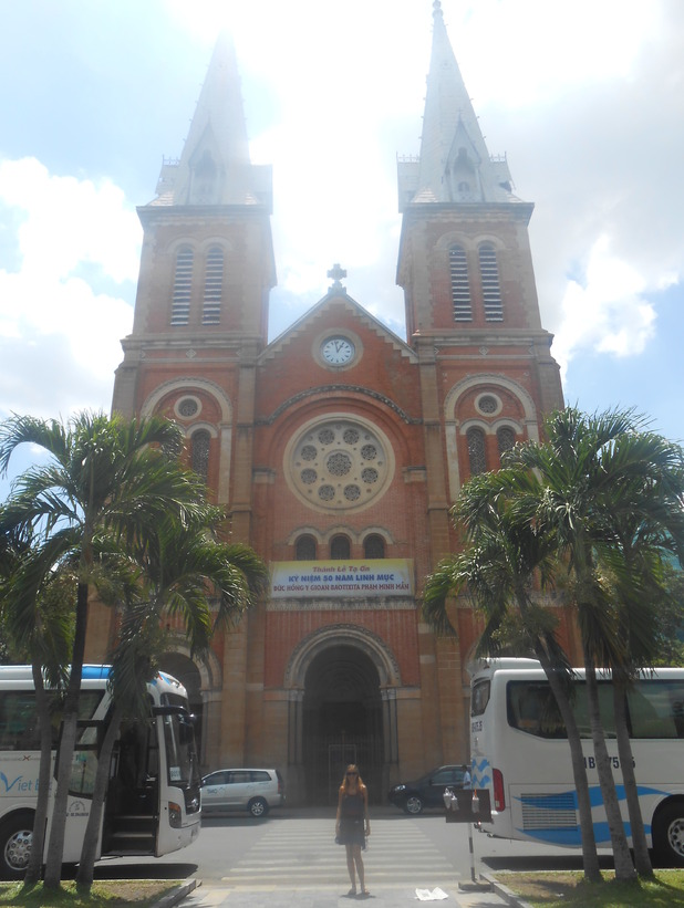 Outside the Notre Dame Cathedral in Ho Chi Minh, 20/6/15