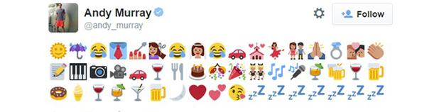 Andy Murray's wedding day emoji tweet