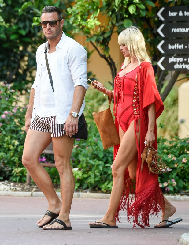 Chloe Sims and Elliott Wright in Marbella filming The Only Way Is Marbs special