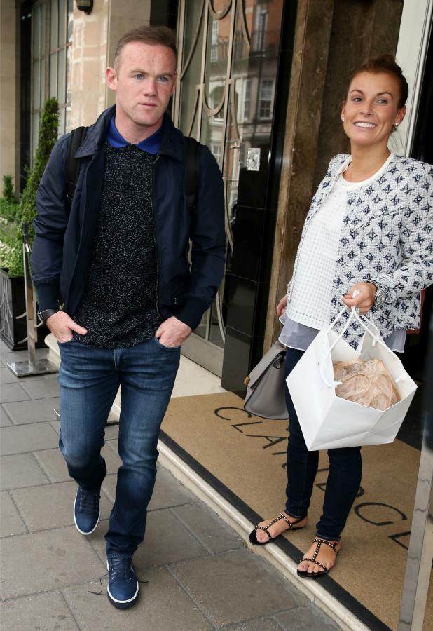 Wayne Rooney and Coleen Roney out and about, London, Britain - 17 Jun 2015