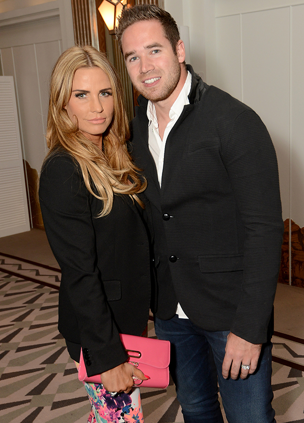 Katie Price and Kieran Hayler attending the Richard Desmond book launch party at the Claridges hotel ballroom on June 15, 2015 in London, England
